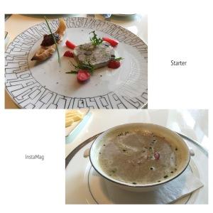 開心果鴨肉凍/法式蘑菇湯