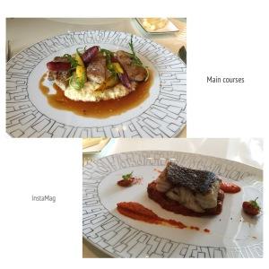 鱸魚佐堅果紅椒醬及茄香番茄/美國牛里肌佐松露洋芋泥及焗蘆筍